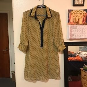 Yellow/ Navy Patterned Forever 21 Shirt Dress